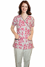 Top mock wrap 3 pocket half sleeve in petal and love peace prints