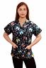 Top v neck 2 pocket half sleeve in butterfly print