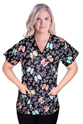 Top mock wrap 3 pocket half sleeve in butterfly print with black piping