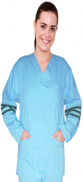 Stripes style ladies v-neck 3 pocket top full sleeve