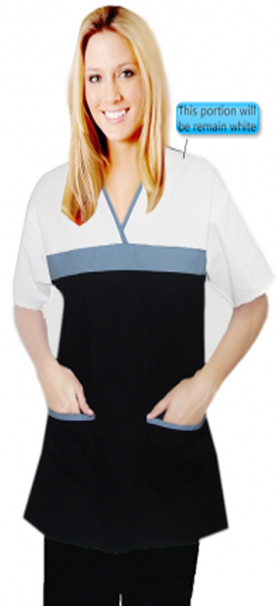 Clearance top 2 pocket half sleeve empire wrap style in solid
