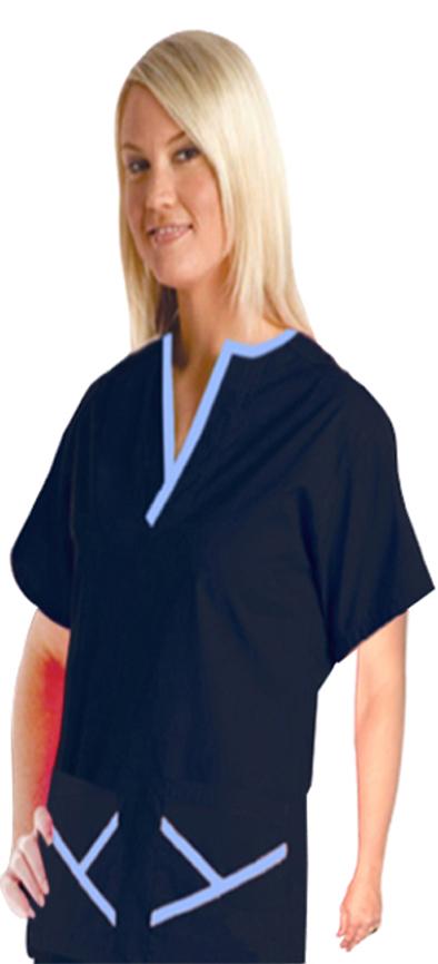 Top 2 pocket ladies y-neck half sleeve style solid