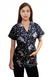 Top mock wrap 3 pocket half sleeve in white flower and black print with black piping