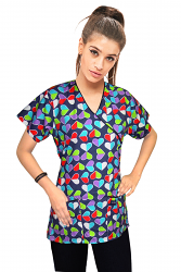 Top mock wrap 3 pocket half sleeve in TECHNICOLOR Hearts print with black piping