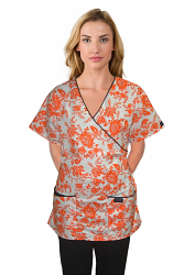 Top mock wrap 3 pocket half sleeve in petal orange print with black piping