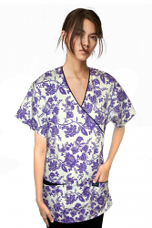 Top mock wrap 3 pocket half sleeve in petal purple print with black piping