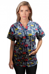 Top v neck 2 pocket half sleeve in Building and Bus Print