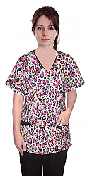 Top mock wrap 3 pocket half sleeve in purple & pink print with black piping