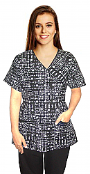 Top mock wrap 3 pocket half sleeve in black & white print with black piping